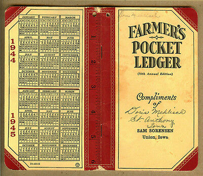 1944-45 Sam Sorensen John Deere, UNION, Iowa IA, JD Farmers Pocket Ledger