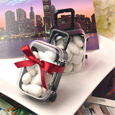 Mini Rolling Travel Suitcase Candy Box Wedding Favors Party Reception Baby Gift