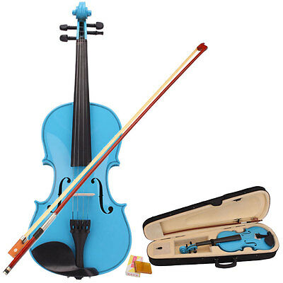 Hot Sale Sky Blue 4/4 Full Size Acoustic Violin with Case + Bow + Bridge + Rosin