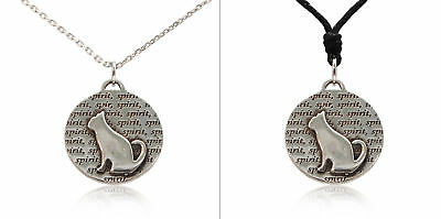 New Spirit Cat Kitten Silver Pewter Charm Necklace Pendant Jewelry