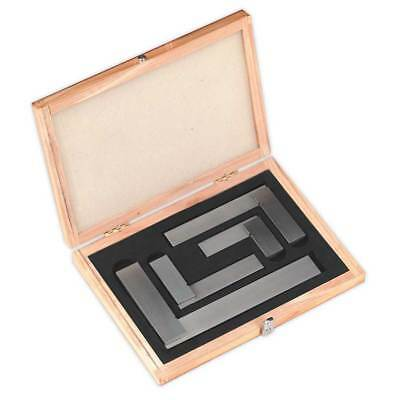 Sealey Precision Steel Square Set in Wooden Case Engineers Measurement Tools 4Pc