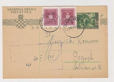 CROATIA,WW II, postal stationery, DARUVAR 1943 ,official #