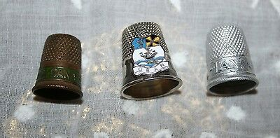 3x Vintage Advertising Sewing Thimbles Brass/Metal Needlework Tools Adverts Old