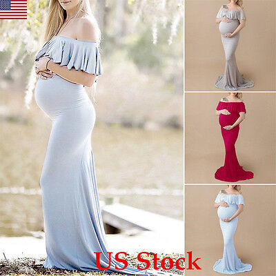 US Maternity Pregnant Women Bodycon Off Shoulder MAXI Long Mermaid Dress Elegant