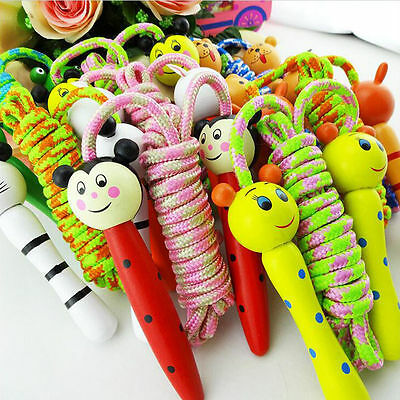Kids Children Cartoon Animal Wooden Handle Skipping Jump Rope Exercise Boxing CH