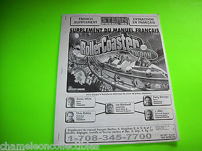 ROLLERCOASTER TYCOON FRENCH SUPPLEMENT By STERN PINBALL MACHINE SERVICE MANUAL