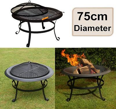 e2e Black Steel 75cm Patio Heater Garden Firepit Fire Pit Barbecue Barbeque BBQ