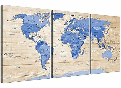 Large Blue Cream Map of World Atlas Canvas Wall Art Print - Split 3 Panel - 3308