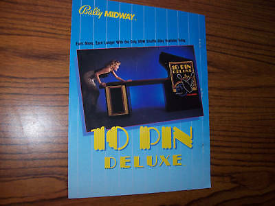 Midway 10 Pin Deluxe Shuffle Alley Flyer Brochure 1984