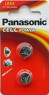 2 x Panasonic LR44 Micro Alkaline 1.5v coin cell button Batteries 357 AG13 A76