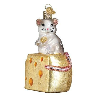 Hungry Mouse W/ Swiss Cheese Slice Old World Christmas Glass Ornament Nwt 12503