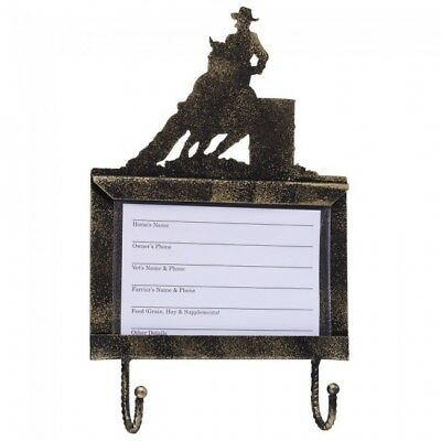 Tough -1 Deluxe Stall Card Holder with Hooks - Black/Bronze - Barrel Racer - NWT