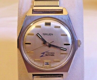 Rare Gruen 13J Precision Electronic Watch, Runs/Stops