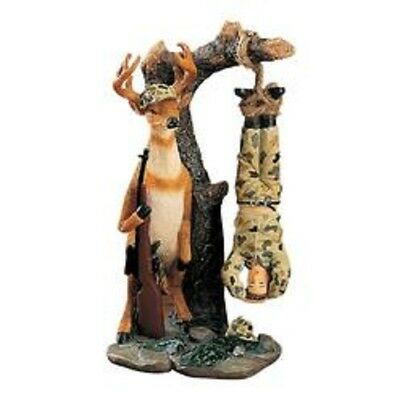 Deer and Hunter Resin Figurine  - Humorous Collectible  Man Hanging from Tree