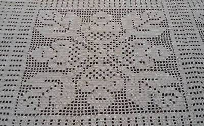 True Vintage Filet Crochet Lace Tablecloth Coverlet Art Deco Floral 79""