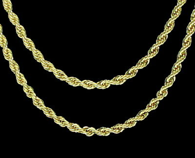 "2pc Choker Set 3mm Rope Chains 18"" 20"" 14k Gold Plated Hip Hop Mens Womens"