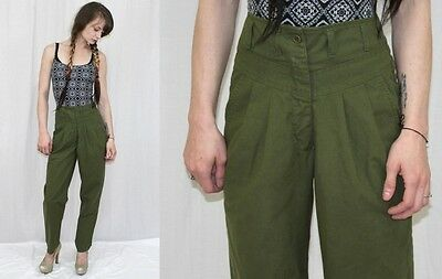 Vintage 80s 90s HIGH Waist Army Green Pleat Retro Tapered Trouser Pants~XS