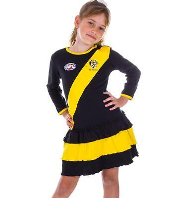 AFL Girls Richmond Tigers Long Sleeve Dress with Frills