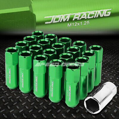 Jdm Open-End Hexagon Green 20 Lug Nuts Set+Adapter M12X1.25 25Mm Od/60Mm Tall