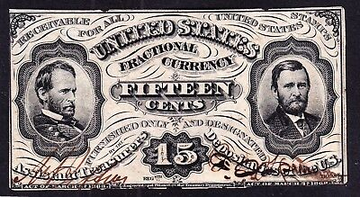US 15c Fractional Currency Grant/ Sherman Specimen w/ Autographs FR 1274sp Ch CU