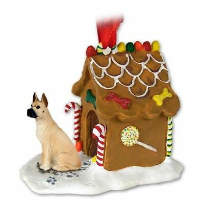 GREAT DANE Fawn Dog Ginger Bread Gingerbread House Christmas ORNAMENT