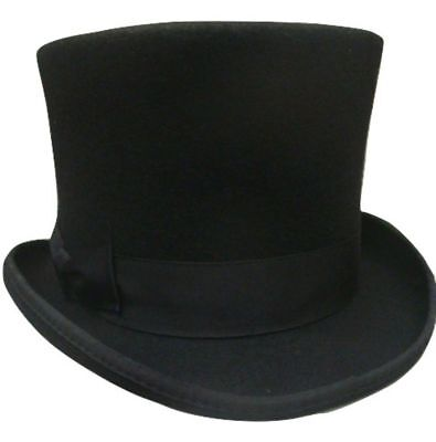 Adult Black Wool Tall Top Hat Gentlemens Victorian Dickens Costume Caroler Slash