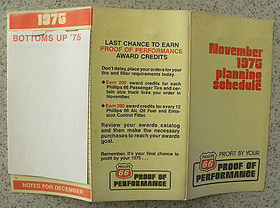 1975 Phillips 66 Oil, Gasoline, Proof of Performance Dealers Planning Schedule