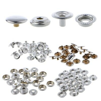 100Pcs Stainless Steel Snap Fastener Press Stud Cap Button Marine Canvas Boat