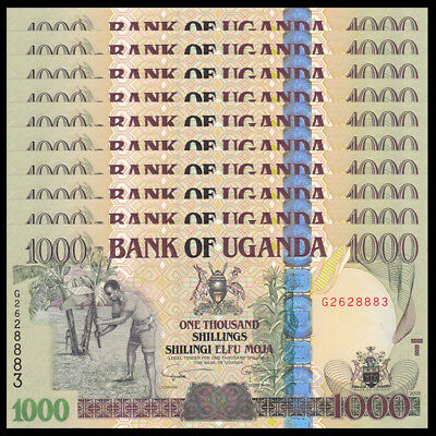 Lot 10 PCS, Uganda 1000 Shillings, 2009, P-43b, UNC