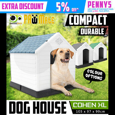 Pet Dog Kennel Weatherproof Plastic Outdoor Indoor Garden House EXTRA LARGE