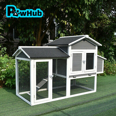 Rabbit Hutch Guinea Pig Cage Backyard House with Patio Timber Flooring Small DXC