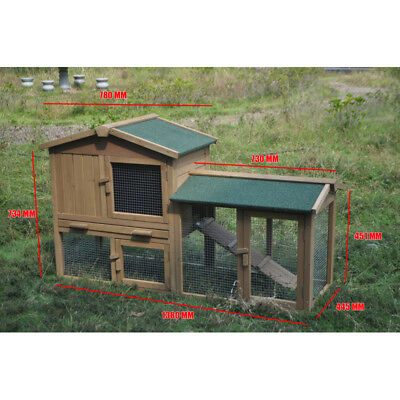 Large Wooden Chicken Hen Coop Rabbit Hutch Guinea Pig Ferret Cage with Single Ru