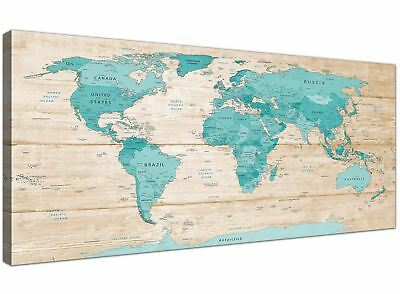 Large Teal Cream Map of World Atlas Canvas Wall Art Prints - 120cm Wide - 1313