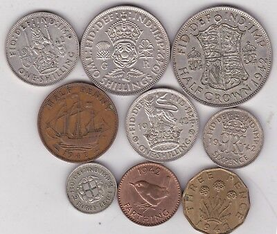 1942 George Vi Set Of 9 Coins In Good Fine Or Better Condition
