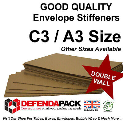 50 x C3 A3 ENVELOPE STIFFENERS Double Wall Layer Pads - 439 x 309mm BC FLUTE