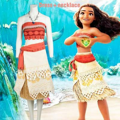Movie Princess Moana Cosplay Costume Adult Children Halloween with Necklace Y6