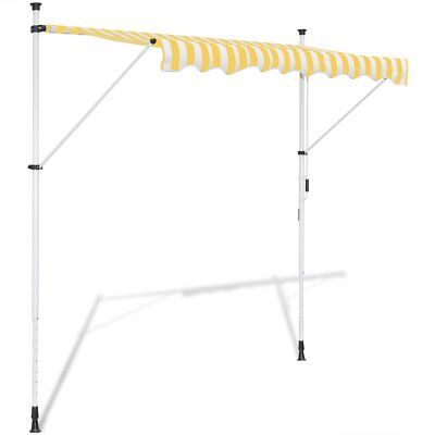 vidaXL Toldo Retráctil Manual Amarillo y Blanco Dimensiones: 3 x 1,2 x (2-3) m