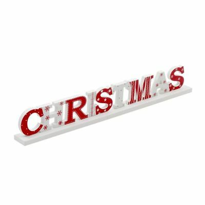 Festive Red & White Christmas Wooden Sign by Heaven Sends