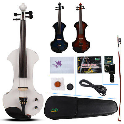 New 4/4 Electric violin Powerful Sound Big Jack White Violin Case Bow yinfente