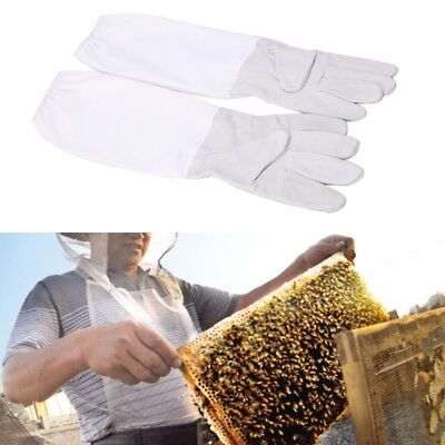 1 Pair Beekeeping Protective Gloves With Vented Long Sleeves Faux Goatskin Tools