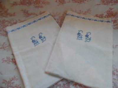 Pair Of Antique French Linen Pillow Cases / Shams - Cushions-Handworked Monogram