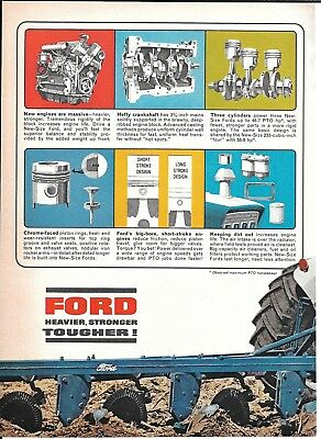 1965 Ford Blue New Size Tractors Ad Tough New Engines