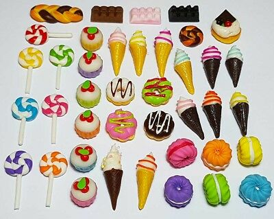 40 Dollhouse Miniature Party Food Set *Doll Mini Bakery Cakes Donut Ice Cream s9