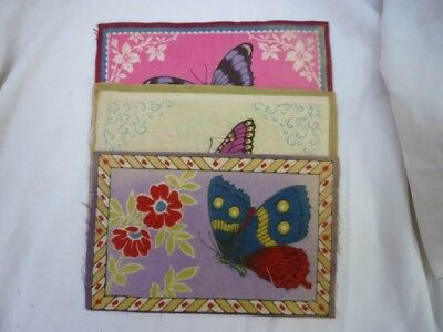 B14 Tobacco Flannel Butterfly Designs Lot of 3
