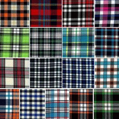 Tartan Style Check Print Brushed Polycotton Craft Fabric 145cm Wide