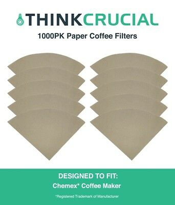 1000 Replacements Chemex Coffee 6, 8 & 10 Cup  Makers Unbleached Paper Filters