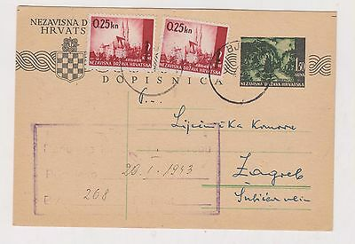 CROATIA,WW II, postal stationery, BJELOVAR 1943 #