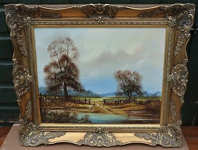 Fab Gilt Framed Painting On Canvas Of Country Landscape By John Hooley  (3