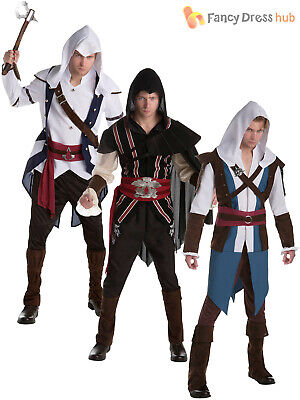 Mens Assassins Creed Costume Adults Video Game Fancy Dress Outfit Official