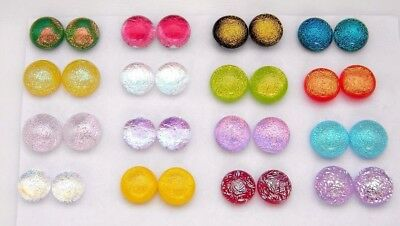 FOR POST EARRINGS TINY Lot 32 pcs round gorgeous DICHROIC FUSED GLASS (B8)